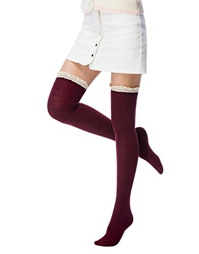 f983aa077 Women s Girls Thigh High Stockings Over the Knee Socks with Satin ...